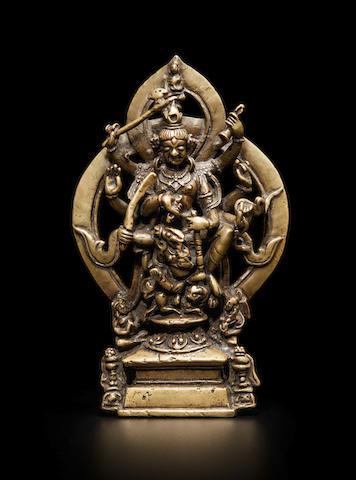 A BRASS ALLOY FIGURE OF VIGHNANTAKA KASHMIR, 10TH/11TH CENTURY