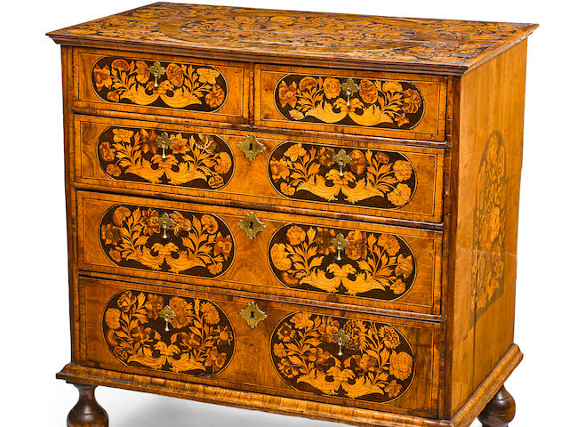 A William and Mary marquetry inlaid walnut chest late 17th century