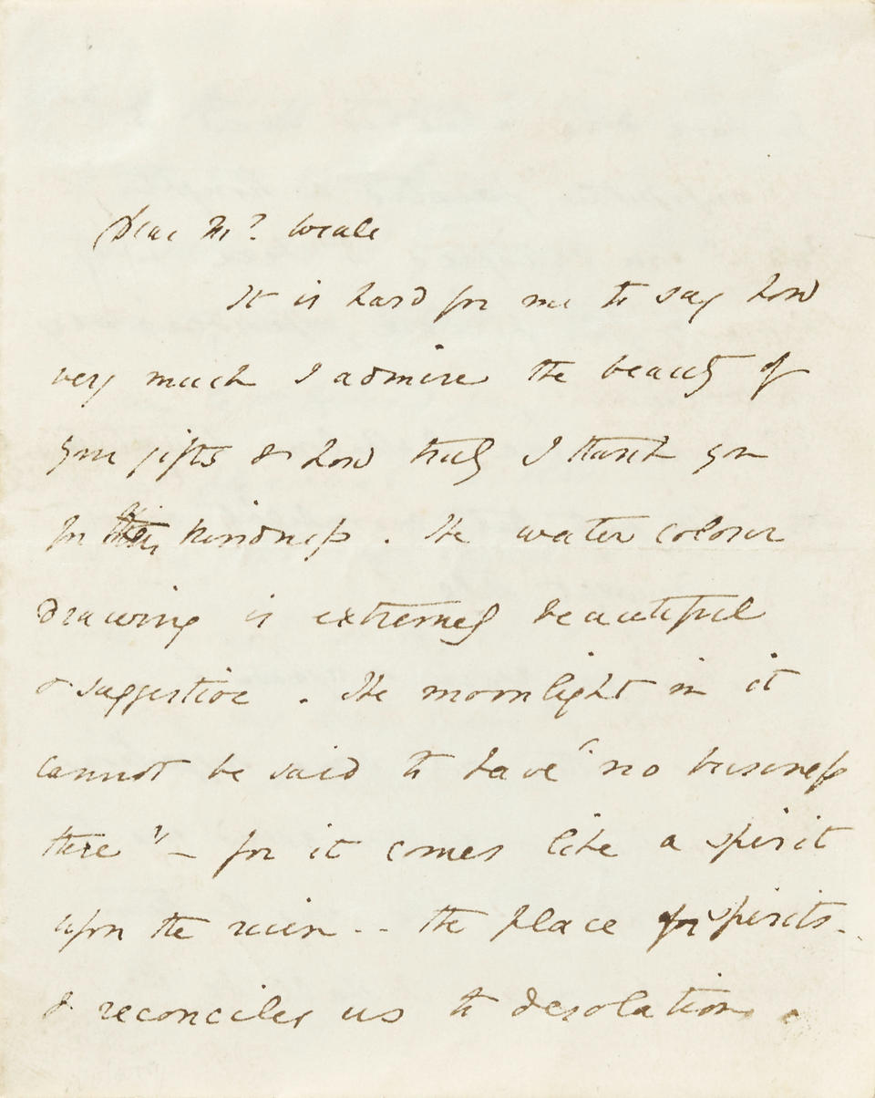 BROWNING, ELIZABETH BARRETT. 1806-1861. Autograph Manuscript, being transcripts from early English poets Geoffrey Chaucer, Edmund Spencer, John Fletcher and popular balladry as appropriate subjects for watercolors,