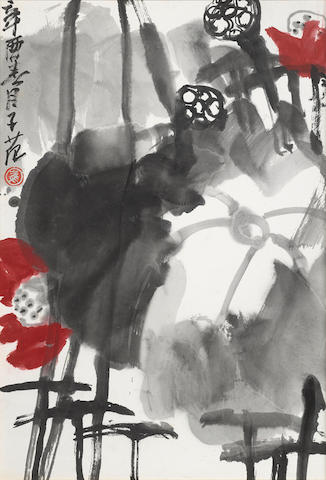 Cui Zifan (1915-2011) Red Lotus, 1981