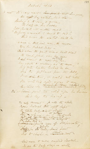 "BROWNING, ELIZABETH BARRETT. 1806-1861. Autograph Manuscript Initialed (""E.B.B.""), being the working notebook for the poems contained in The Seraphim and Other Poems,"