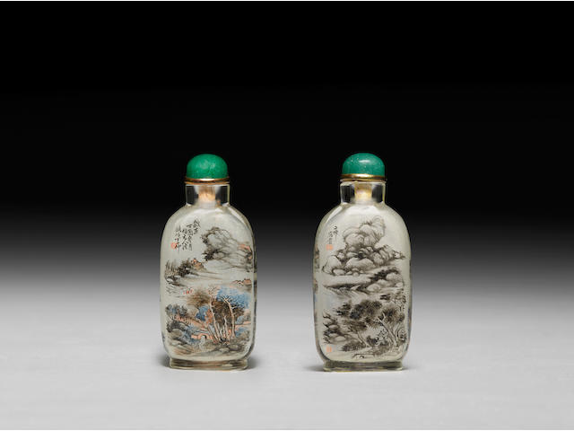 A fine and rare inside painted glass snuff bottle Ding Erzhong, 1897