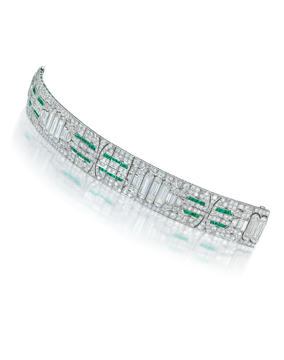 An art deco diamond, emerald and platinum bracelet,