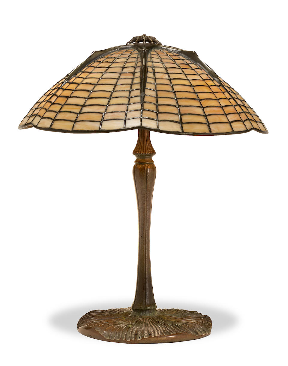 A Tiffany Studios leaded glass and patinated bronze Spider lamp1899-1918