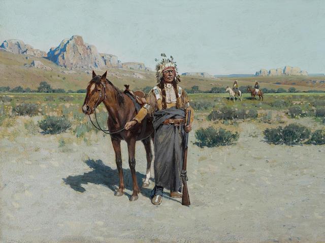 Henry F. Farny (1847-1916) Cheyenne Scout 10 x 16 1/4in