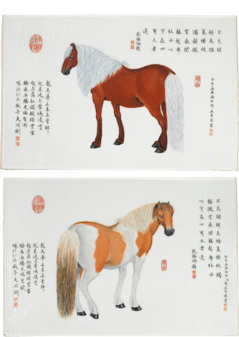 A pair of polychrome enameled rectangular plaques of horses