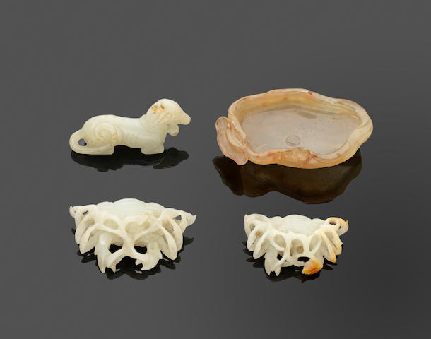 A group of four jade and hardstone carvings