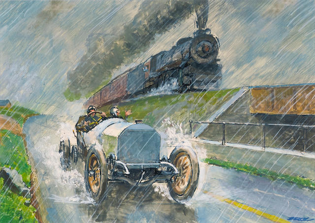 Peter Helck, Road Vs. Rail 1908 Mercedes