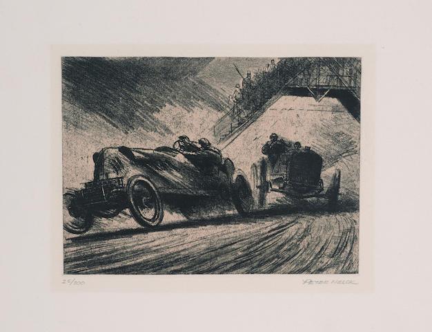 8 Original Etchings by Peter Helck, Pre WWI Racing Portfolio