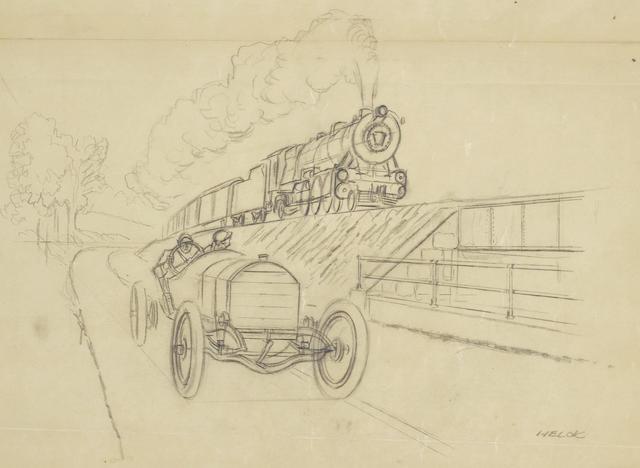 Peter Helck, Road Vs. Rail 1908 Mercedes Prelimiary Sketch