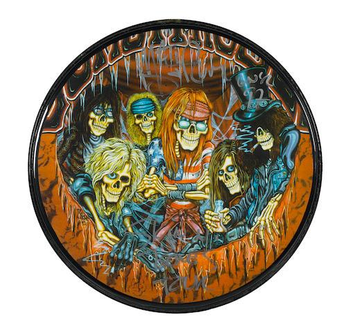 A Guns N' Roses pictorial bass drum head signed by Matt Sorum