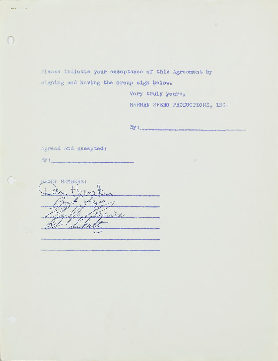 A signed Bob Seger System contract