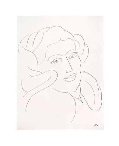 Henri Matisse (1869-1954) Tête de Femme  16 1/2 x 12 3/4 in (41.9 x 32.2 cm) (Drawn in 1944)