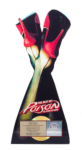 A Gold Record display for Poison's Best of Poison album