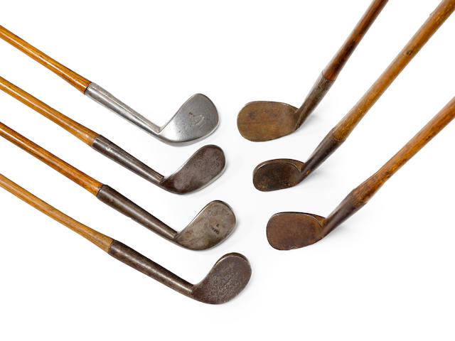 SEVEN ORIGINAL NAMED BLACKSMITH MADE RUT IRONS ((7))