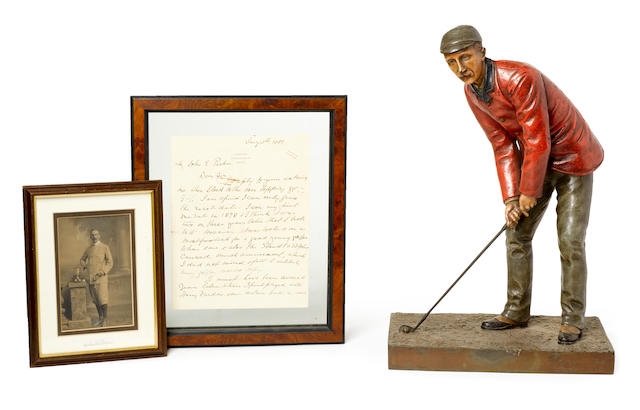 A COLD PAINTED STATUE OF AMATEUR CHAMPION JOHN LAIDLAY CIRCA 1895 ((3))