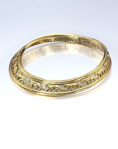 """An 18K bi-color gold """"Panthere"""" collar, Cartier"""