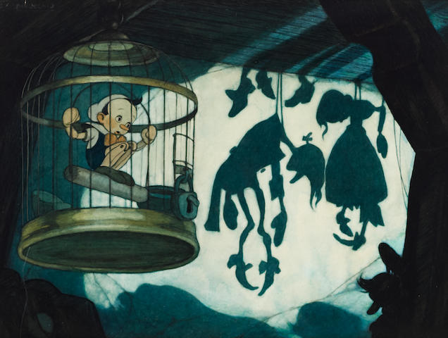 A Gustaf Tenggren original concept painting from Pinocchio