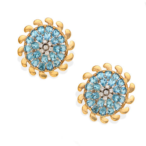 A pair of Retro aquamarine, diamond and gold dome ear clips