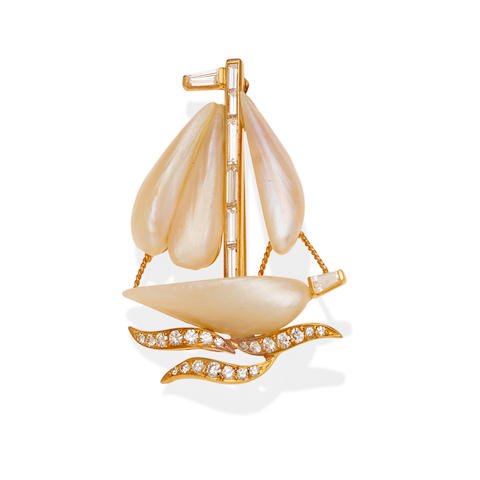 A river pearl, diamond and gold-plated platinum sailboat brooch, Ruser