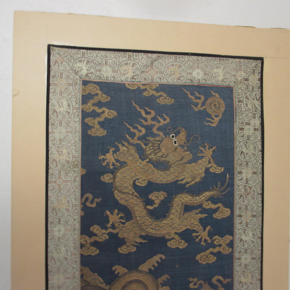 A fragment from a kesi-woven silk dragon robe Late Qing dynasty