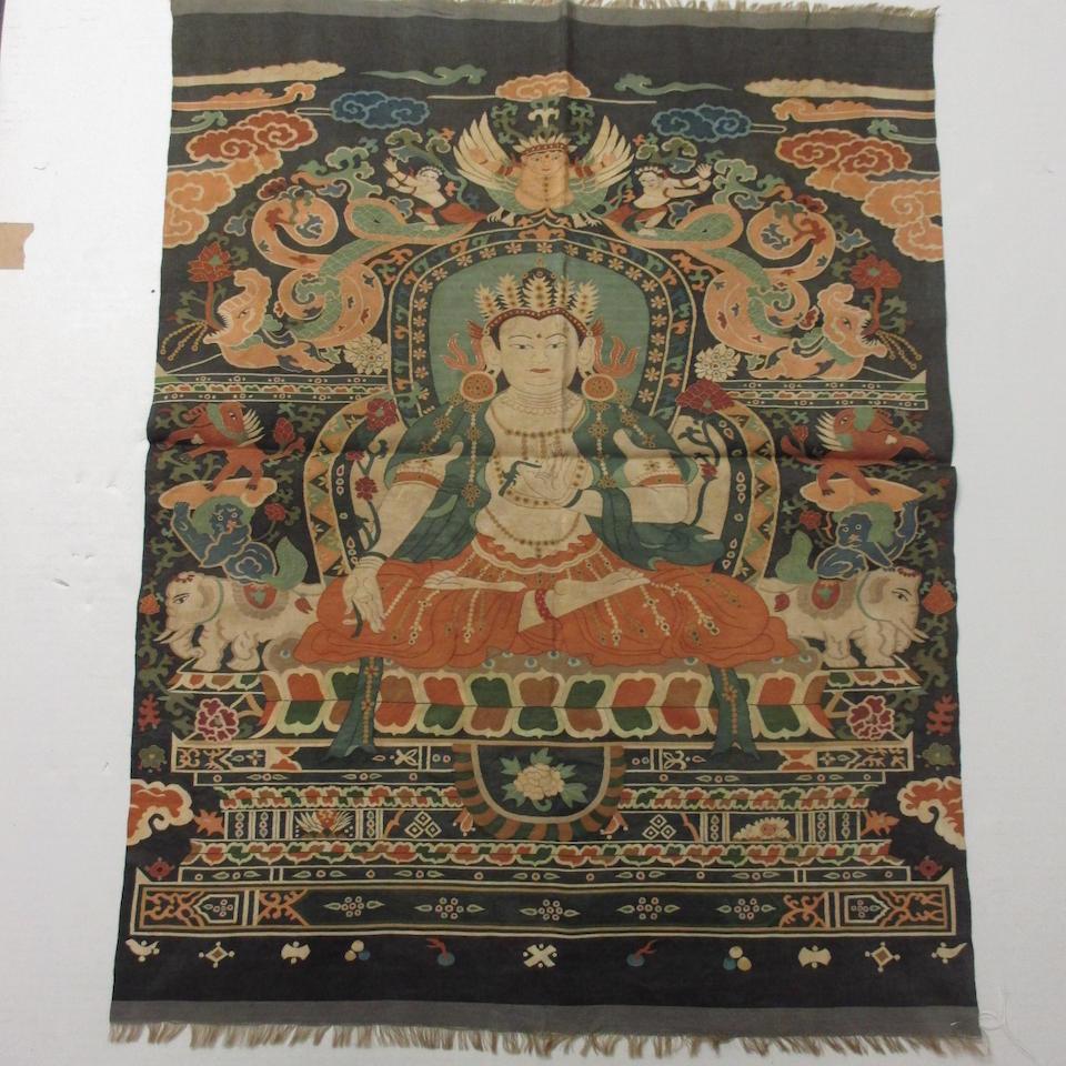 A kesi-woven silk thangka
