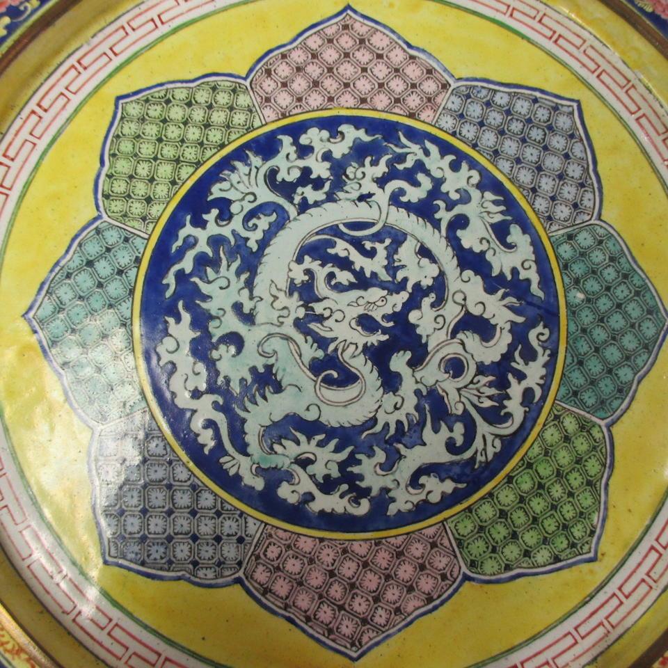 A polychrome enamel deep dish  Guangdong workshop, 18th/19th century