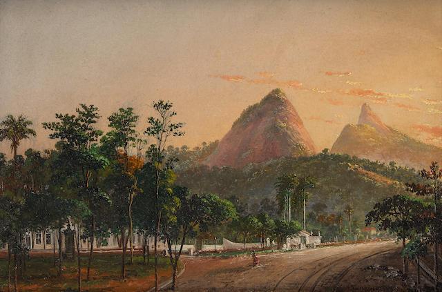Nicolau Antonio Facchinetti (Italian, 1824-1900) A view of Rio de Janeiro from Barrio Cosme Velho  7 1/2 x 11in (19 x 28cm)