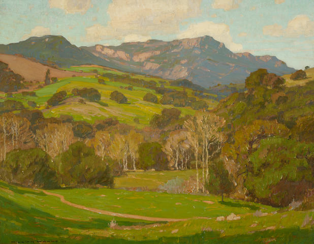 William Wendt (1865-1946) Verdant Hills on a Clear Day 28 1/2 x 36in overall: 35 3/4 x 43 1/4in (Painted in 1910)