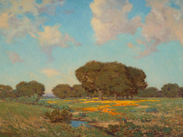 Granville Redmond (1871-1935) California Poppies and Oaks 26 1/4 x 36in overall: 34 1/4 x 44 1/2in (Painted in 1912)
