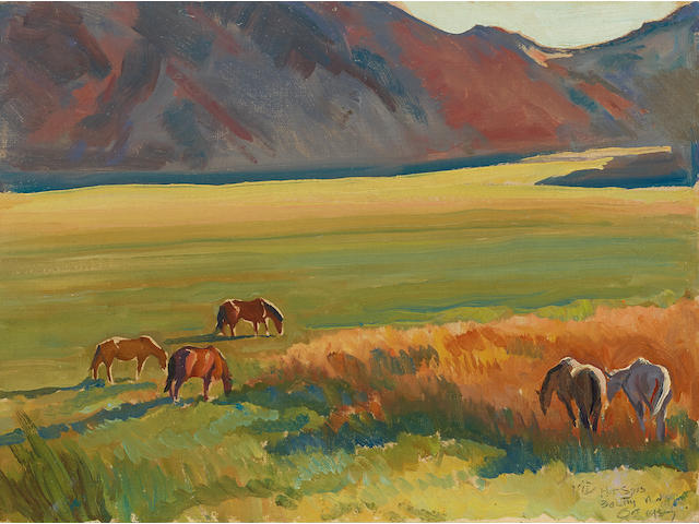 Maynard Dixon (1875-1946) Meadow and Horses 10 x 14in overall: 17 x 20 1/2in (Painted in 1937)