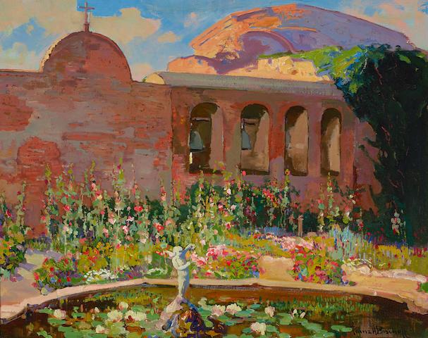Franz Arthur Bischoff (1864-1929) San Juan Capistrano Mission Yard 24 x 30in (overall: 33 x 39in)