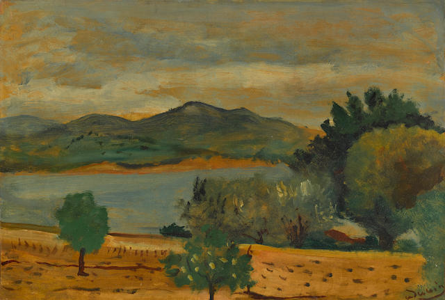 André Derain (1880-1954) Paysage 14 3/4 x 21 5/8 in (37.8 x 54.8 cm)  (Painted circa 1925)