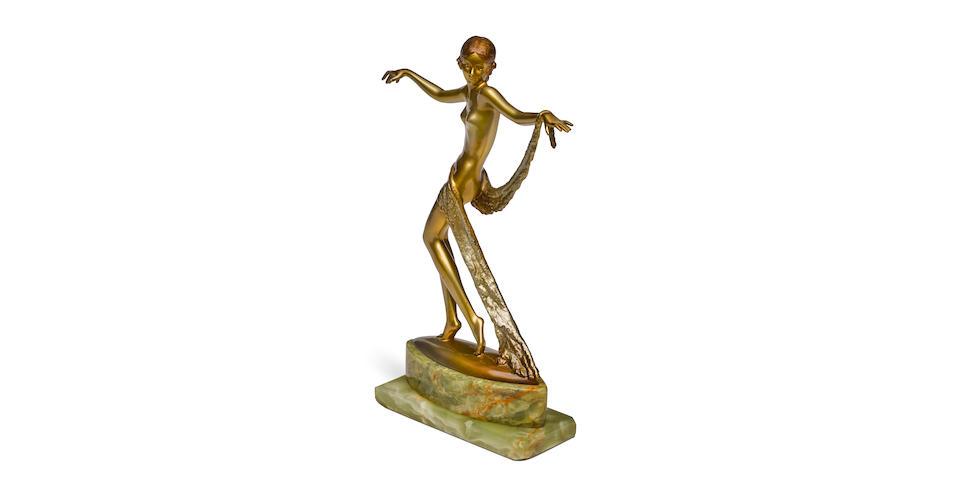 Josef Lorenzl (Austrian, 1892-1950) An Art Deco cold painted bronze and onyx figure of a scarf dancercirca 1925