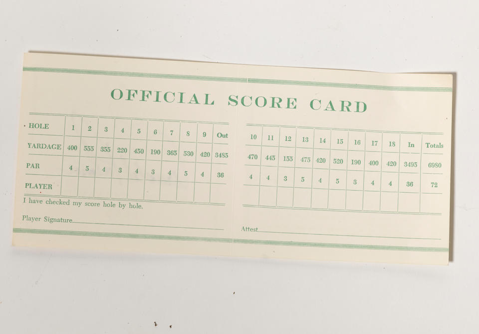 A 1959 MASTERS SCORE CARD SIGNED BY ARNOLD PALMER