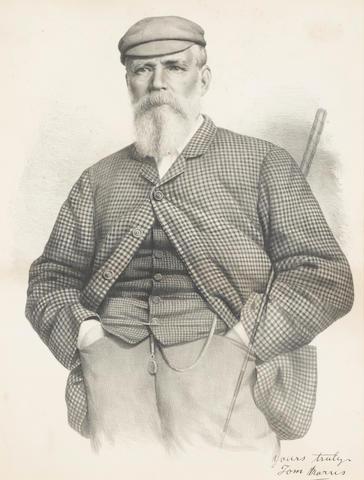TOM MORRIS SENIOR: A LARGE LITHOGRAPHIC PORTRAIT CIRCA 1870 Downey, London