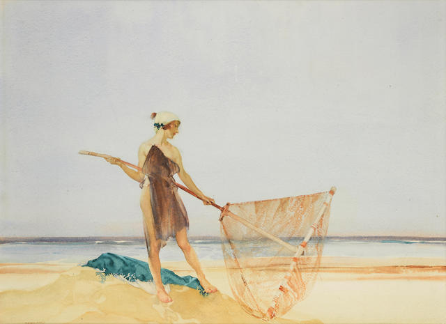 Sir William Russell Flint, RA, PRWS (British, 1880-1969) The shrimper 19 1/8 x 26 3/16in (48.5 x 66.5cm)