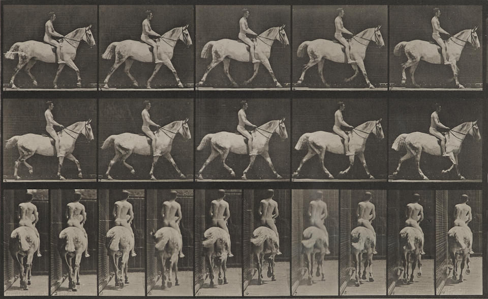 Eadweard Muybridge (1830-1904); Pl. 277 (Man with Bat); Pl. 603 (Naked Man on Horseback), from Animal Locomotion;