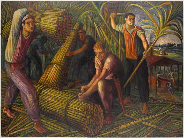 Alipio Jaramillo (1913-1999) Zafra 46 5/8 x 62 3/8 in (118.4 x 158.4 cm)  (Painted circa 1950)
