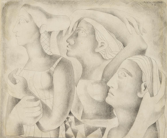 RENÉ PORTOCARRERO (1912-1986) Tres mujeres 9 3/8 x 10 7/8 in (23.6 x 27.5 cm) (Drawn in 1942)