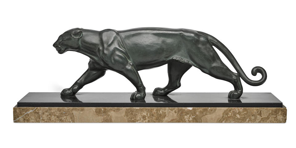 A spelter and marble figure of a panthercirca 1925