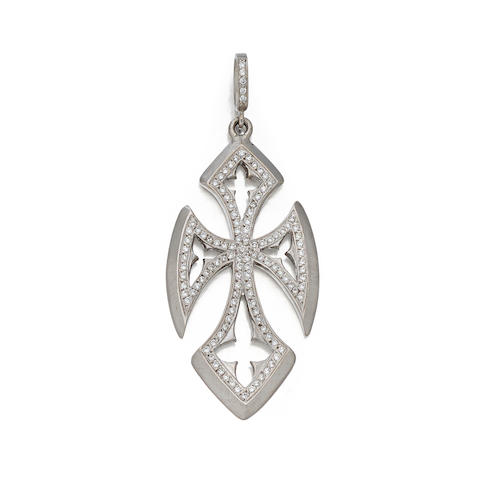 "A diamond and 18K white gold cross ""Quatrefoil Cross"" pendant, Loree Rodkin"