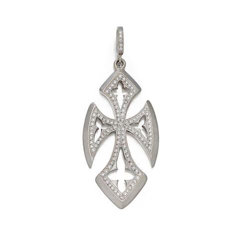 "A diamond and 18K white gold cross ""Quatrefoil Cross"" pendant, Loree Rodkin"