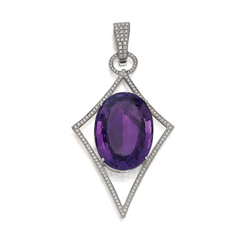 An amethyst, diamond and 14K white gold pendant