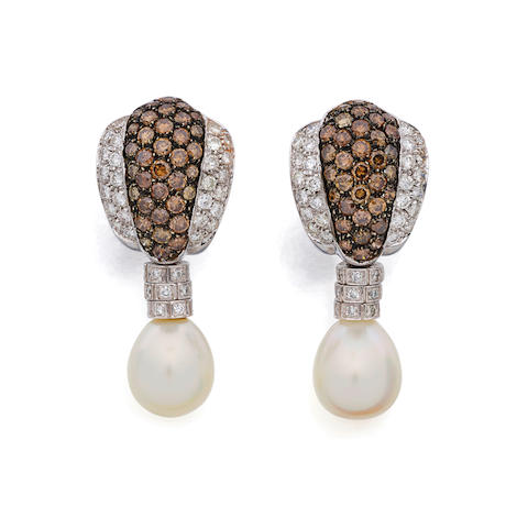 A pair of diamond, colored diamond, baroque cultured pearl and 18K white gold ear clips