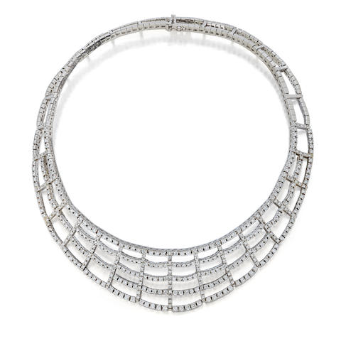 A diamond and 18K white gold collar
