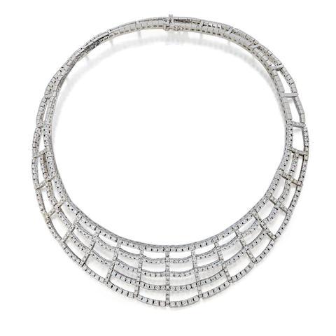 A diamond and 18K white gold collar