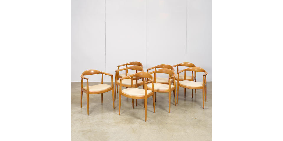 Hans Wegner (1914-2007) Eight The Chair (Round) chairsJohannes Hansen, oak, upholstery, branded JOHANNES HANSEN COPENHAGEN DENMARK JH, some with Knoll paper labelheight 30 3/8in (77cm); width 24 3/4in (63cm); depth 18 1/2in