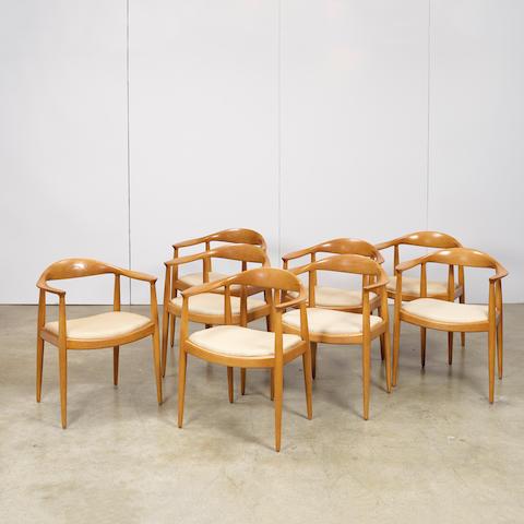 Hans Wegner (1914-2007) Eight The Chair (Round) chairsJohannes Hansen, oak, upholstery, branded JOHANNES HANSEN COPENHAGEN DENMARK JH, some with Knoll paper labelheight 30 3/8in (77cm); width 24 3/4in (63cm); depth 18 1/2in