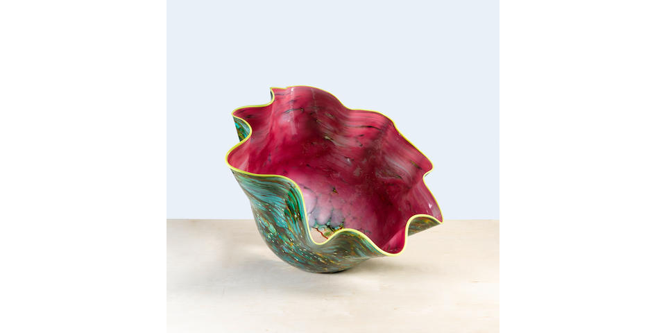 Dale Chihuly (born 1941) Watermelon Machia with yellow lip wrap, 20020Z.179.ML, blown glass, signed Chihuly 02height 22in (56cm); width 29 1/2in (75cm); depth 27 1/2in (70cm)
